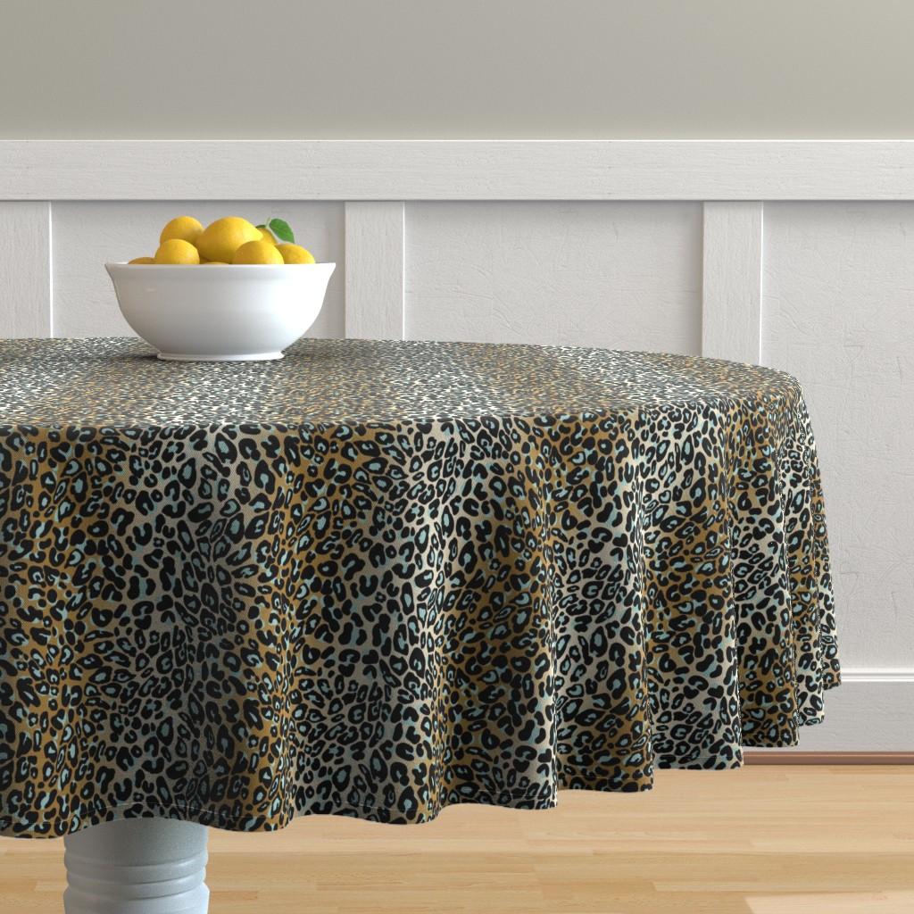 Malay Round Tablecloth featuring leopard - camel/aqua/black by cinneworthington