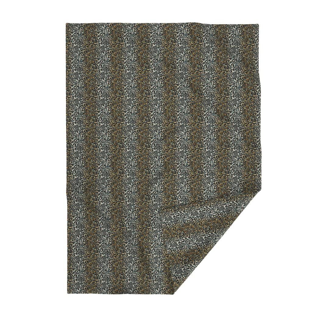 Lakenvelder Throw Blanket featuring leopard - camel/aqua/black by cinneworthington