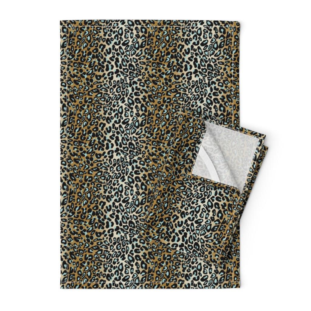 Orpington Tea Towels featuring leopard - camel/aqua/black by cinneworthington