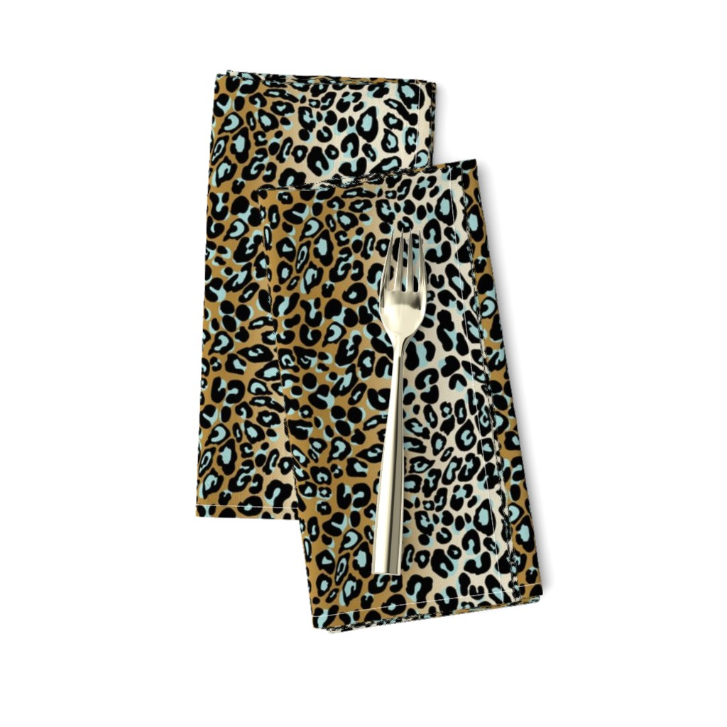 Amarela Dinner Napkins featuring leopard - camel/aqua/black by cinneworthington