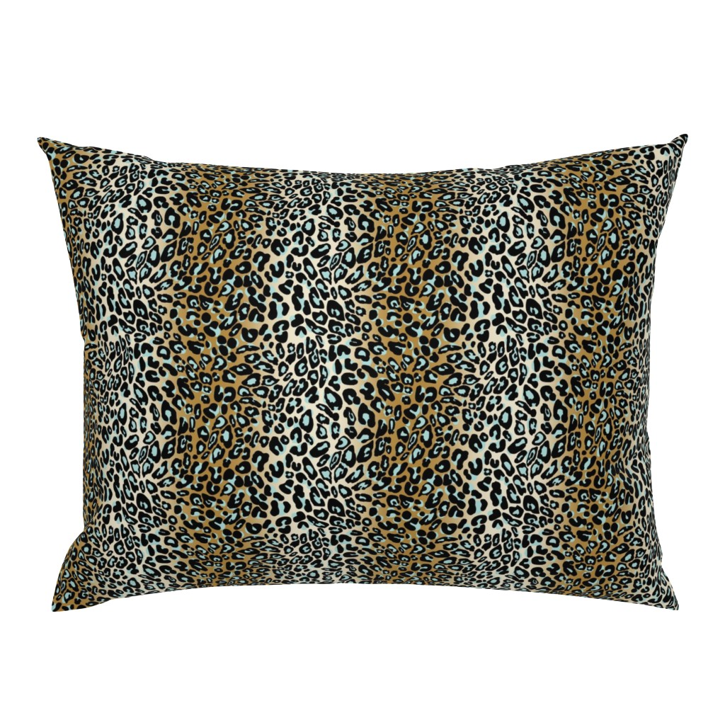 Campine Pillow Sham featuring leopard - camel/aqua/black by cinneworthington
