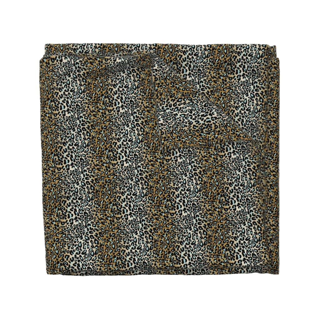 Wyandotte Duvet Cover featuring leopard - camel/aqua/black by cinneworthington