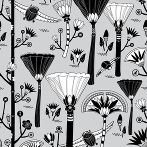 Egyptian  Floral  and Beetles Gray