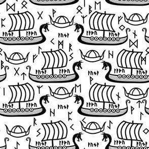 Viking longboats and runes black
