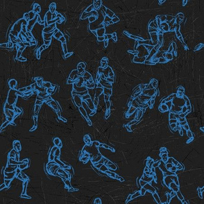Rugby Sketch blue on black