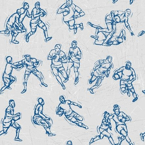 Rugby Sketch blue on white