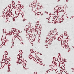 Rugby Sketch red on white