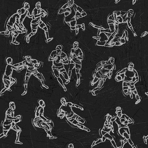 Rugby Sketch white on black