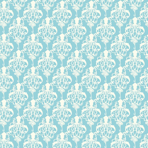 Steampunk Squid Damask Small Aqua