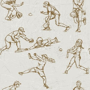 Softball Sketches brown on white