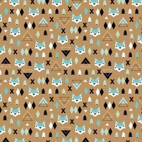Geometric fox and pine tree illustration pattern brown mint boys XS