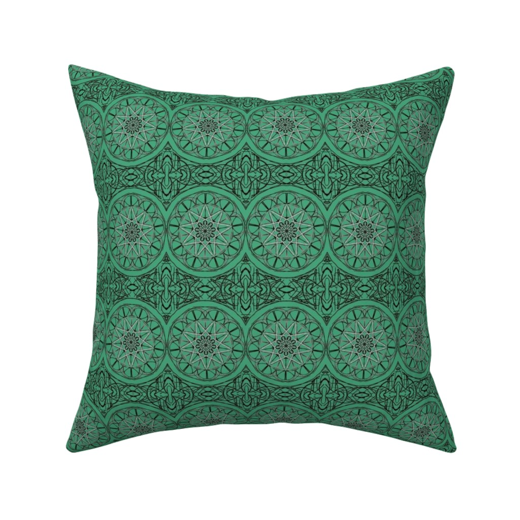Catalan Throw Pillow featuring Rolling Star Wheels on Green Jade by rhondadesigns