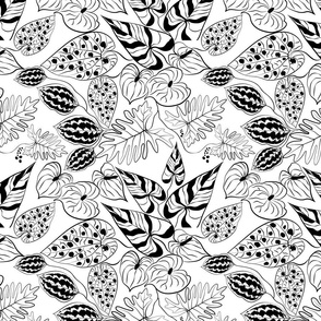 White exotic jungle tropical seamless pattern