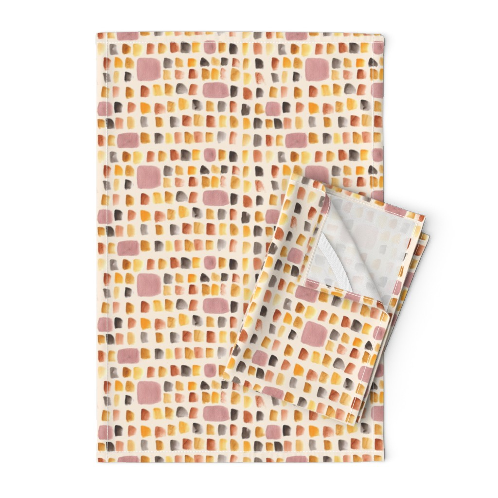 Orpington Tea Towels featuring Autumn Copper watercolor dots by marlenewagenhofer_art