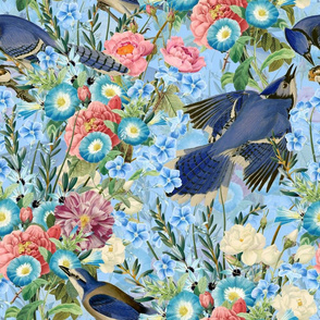 "18"" Watercolor hand drawn pattern - Blue Jay Bird In Flower Jungle on blue"
