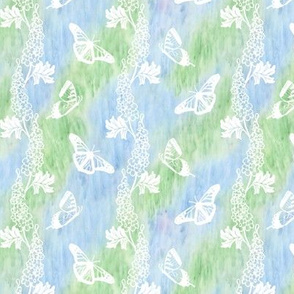 White Delphiniums and Butterflies Blue Green