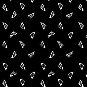 White  Swallowtail Butterflies Tiny on Black Texture