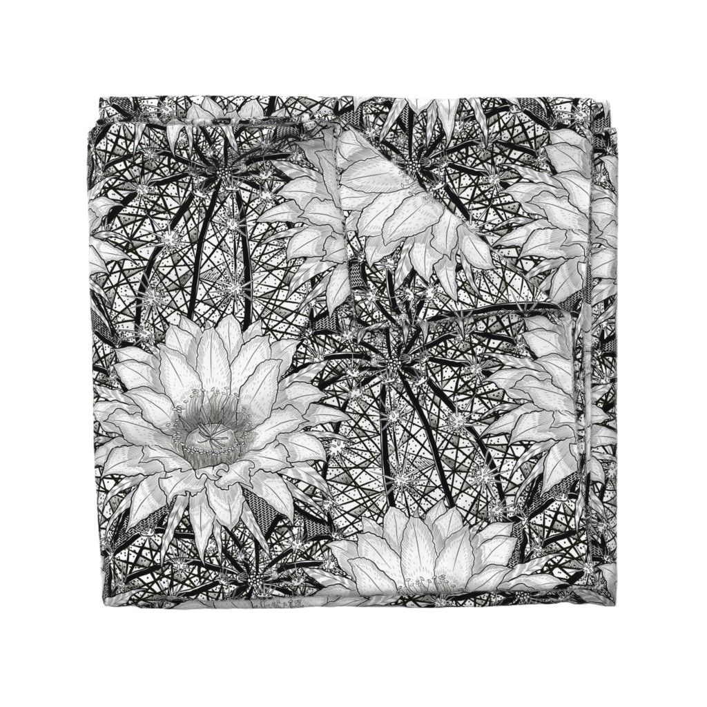 Wyandotte Duvet Cover featuring Black & White Geo Cactus Echinopsis by helenpdesigns