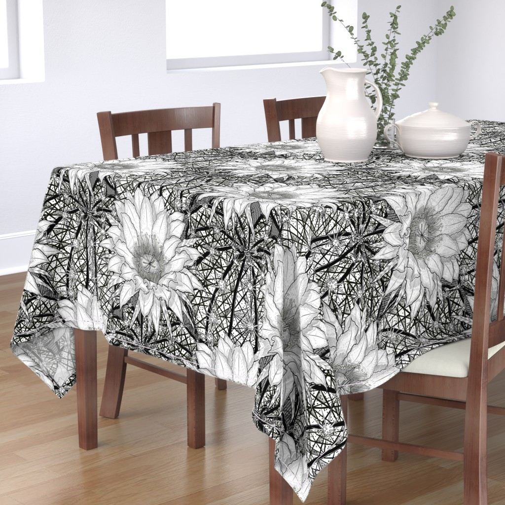 Bantam Rectangular Tablecloth featuring Black & White Geo Cactus Echinopsis by helenpdesigns