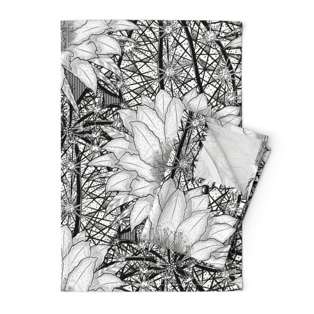 Orpington Tea Towels featuring Black & White Geo Cactus Echinopsis by helenpdesigns