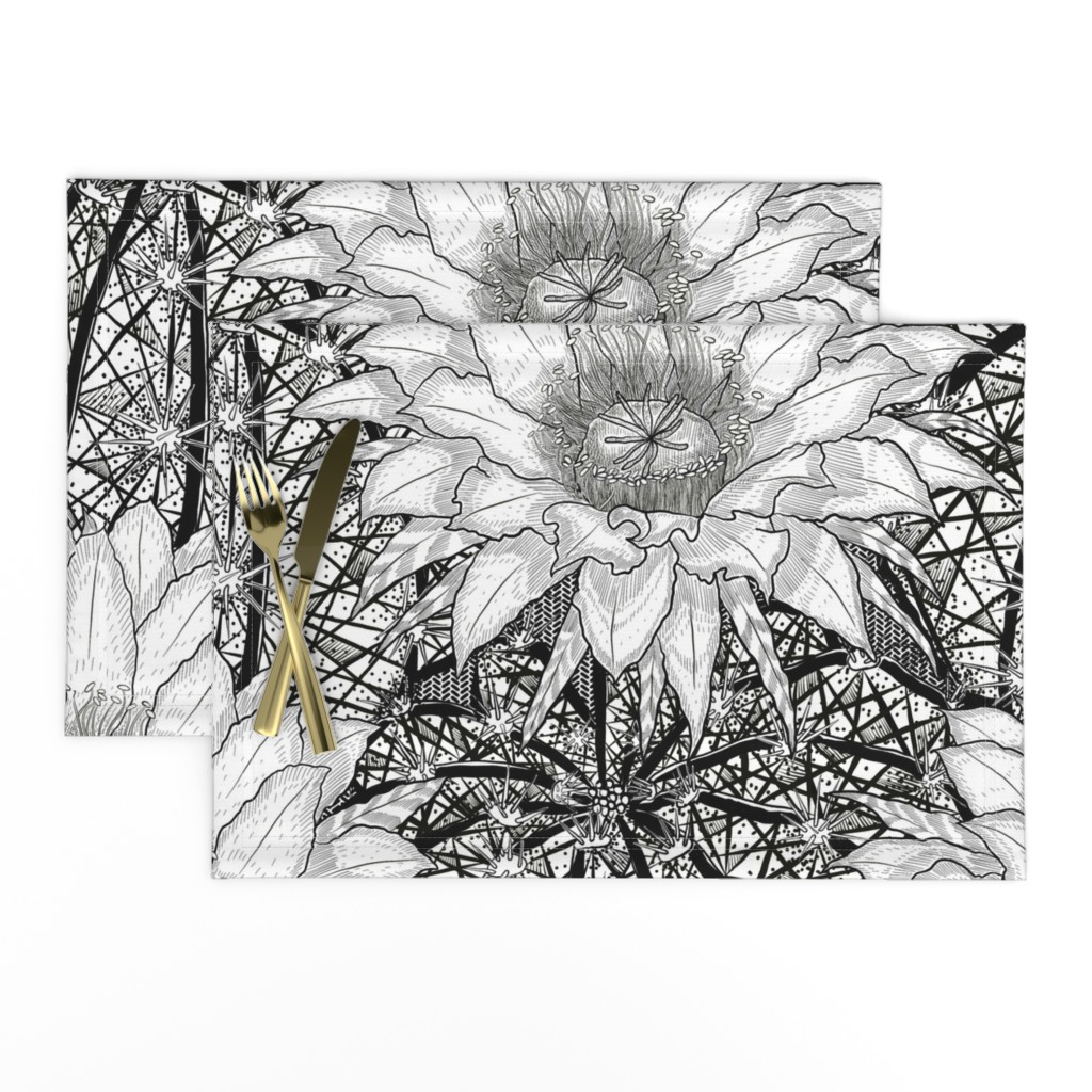 Lamona Cloth Placemats featuring Black & White Geo Cactus Echinopsis by helenpdesigns