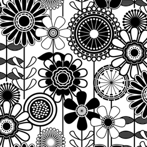 Black White Flowers - Mid Century Modern Floral