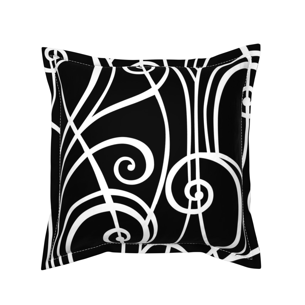 Serama Throw Pillow featuring Graphic Spirals by lily_studio