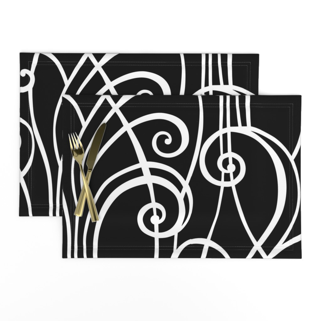 Lamona Cloth Placemats featuring Graphic Spirals by lily_studio