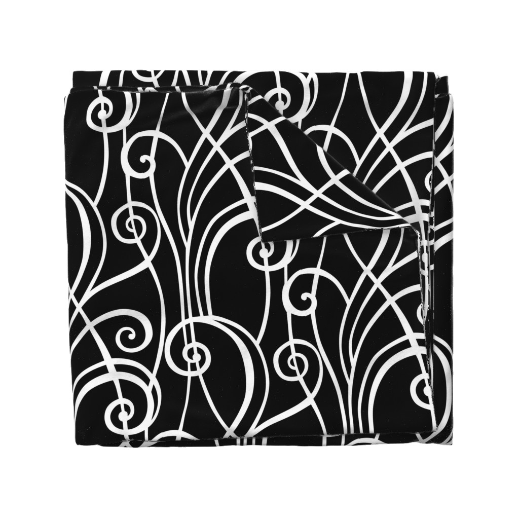 Wyandotte Duvet Cover featuring Graphic Spirals by lily_studio