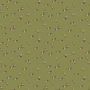 Flying ducks green tiny