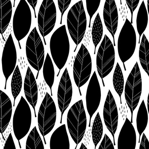 Monochrome Leaves - large scale