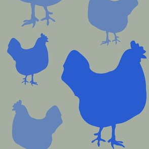 Hens in Blue