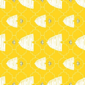 Bees + Hives Quatrefoil  // Pollinator Garden Party // Yellow, White, Gray // Lemon, insects, summer, bee hive, bee keeper, nectar, honey, nursery // RR for Tea Towels