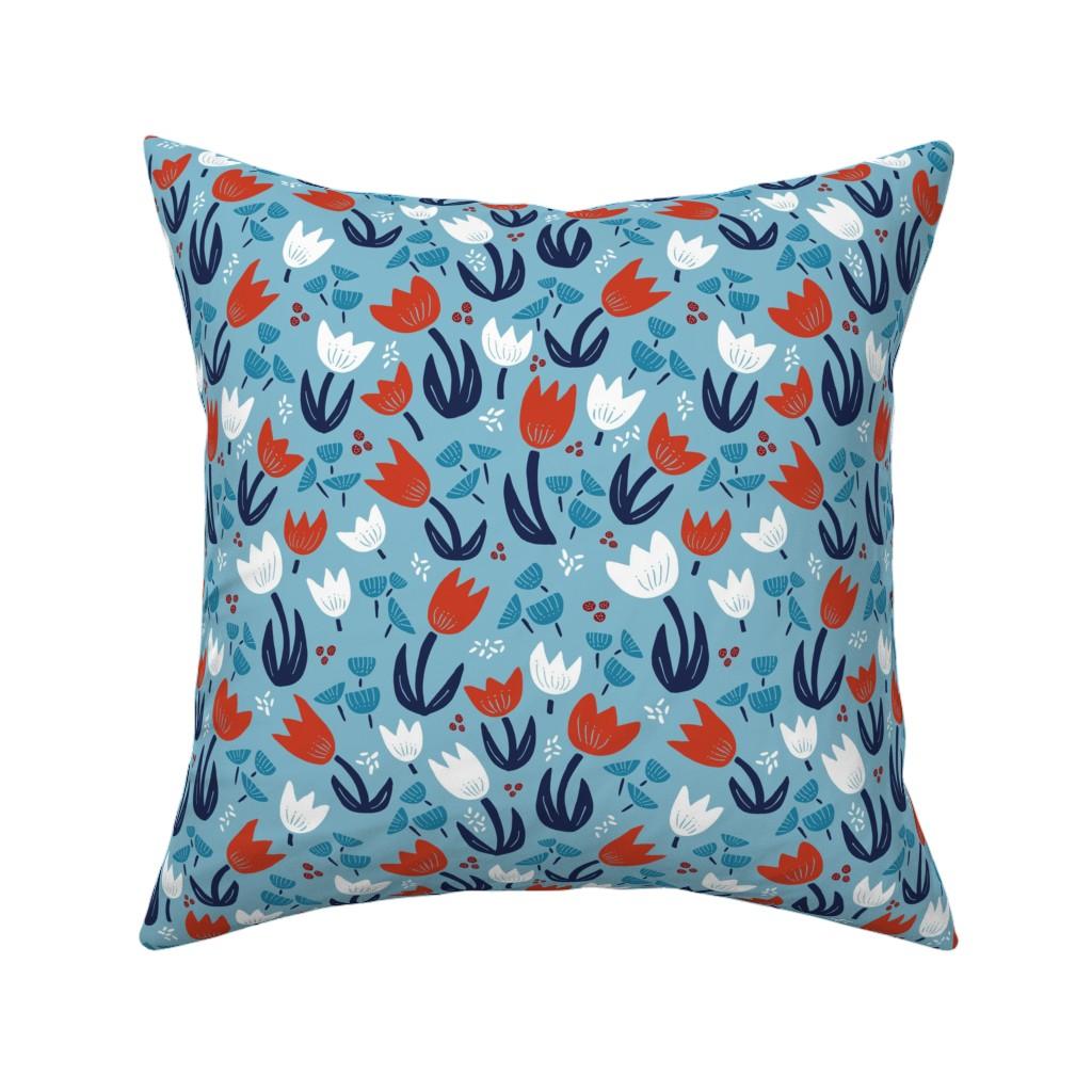 Catalan Throw Pillow featuring Tulips Scandi Blue by emilywalkerartdesign