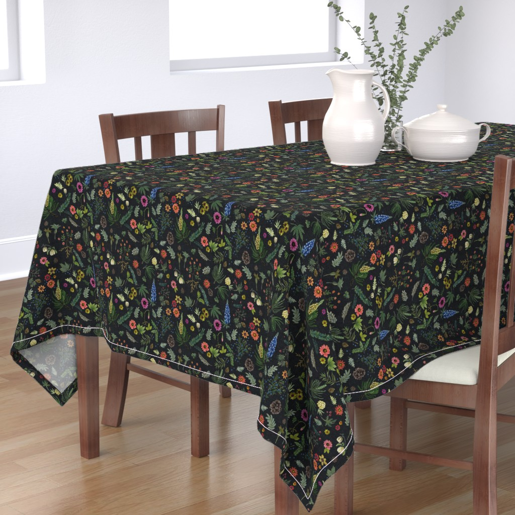 Bantam Rectangular Tablecloth featuring boho botanica - black denim - blue lupin by cinneworthington