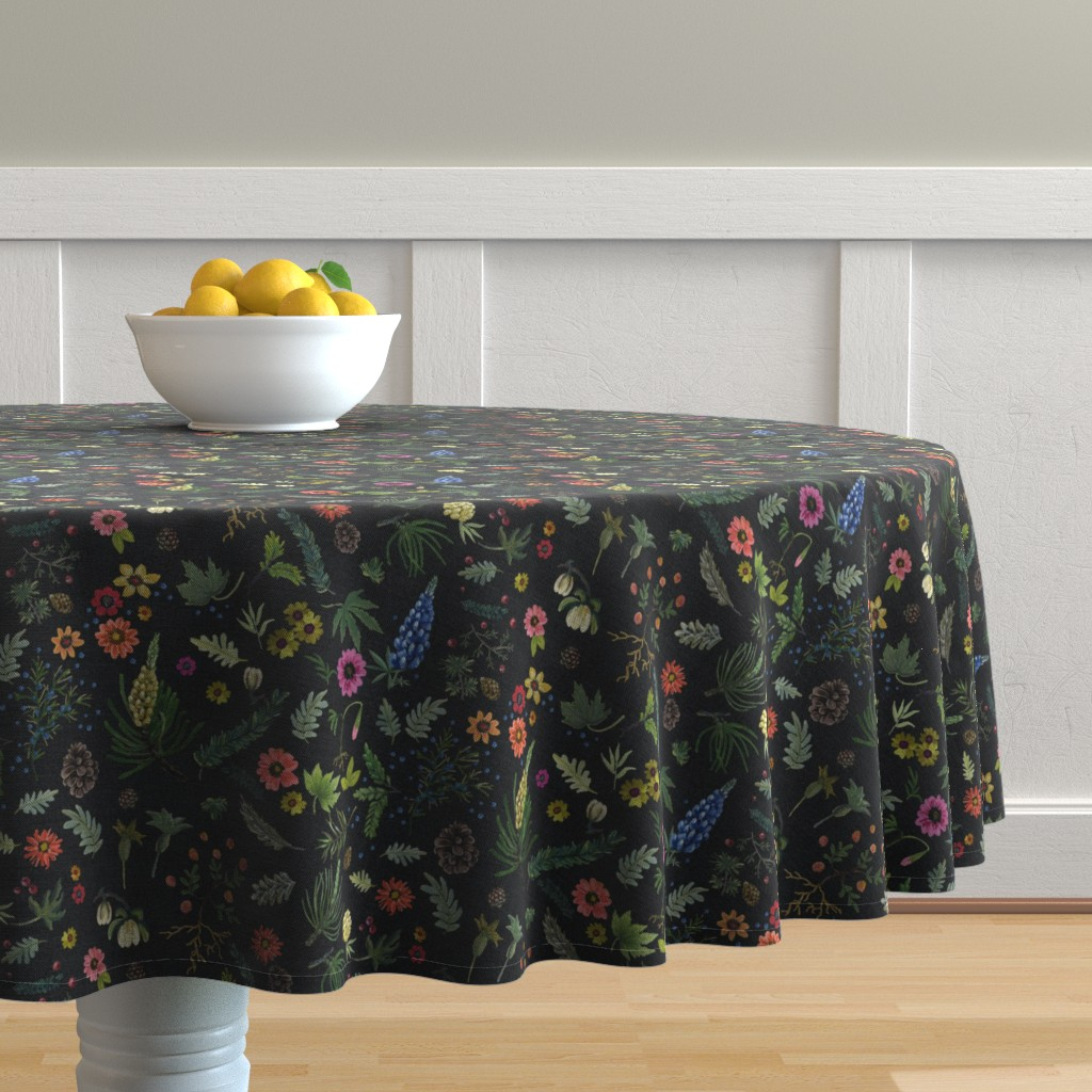 Malay Round Tablecloth featuring boho botanica - black denim - blue lupin by cinneworthington