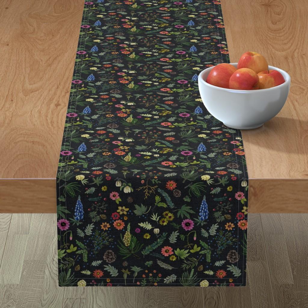 Minorca Table Runner featuring boho botanica - black denim - blue lupin by cinneworthington