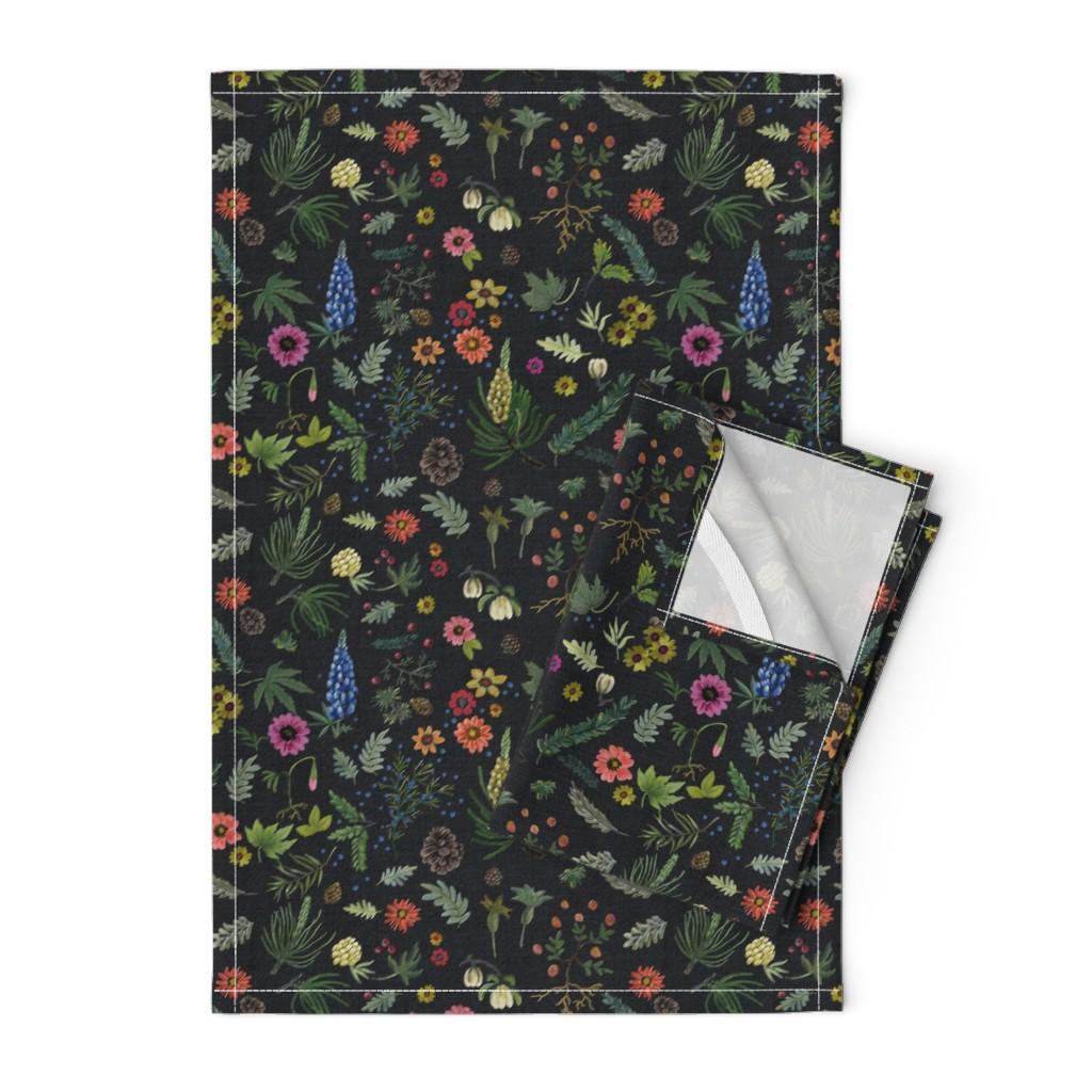 Orpington Tea Towels featuring boho botanica - black denim - blue lupin by cinneworthington