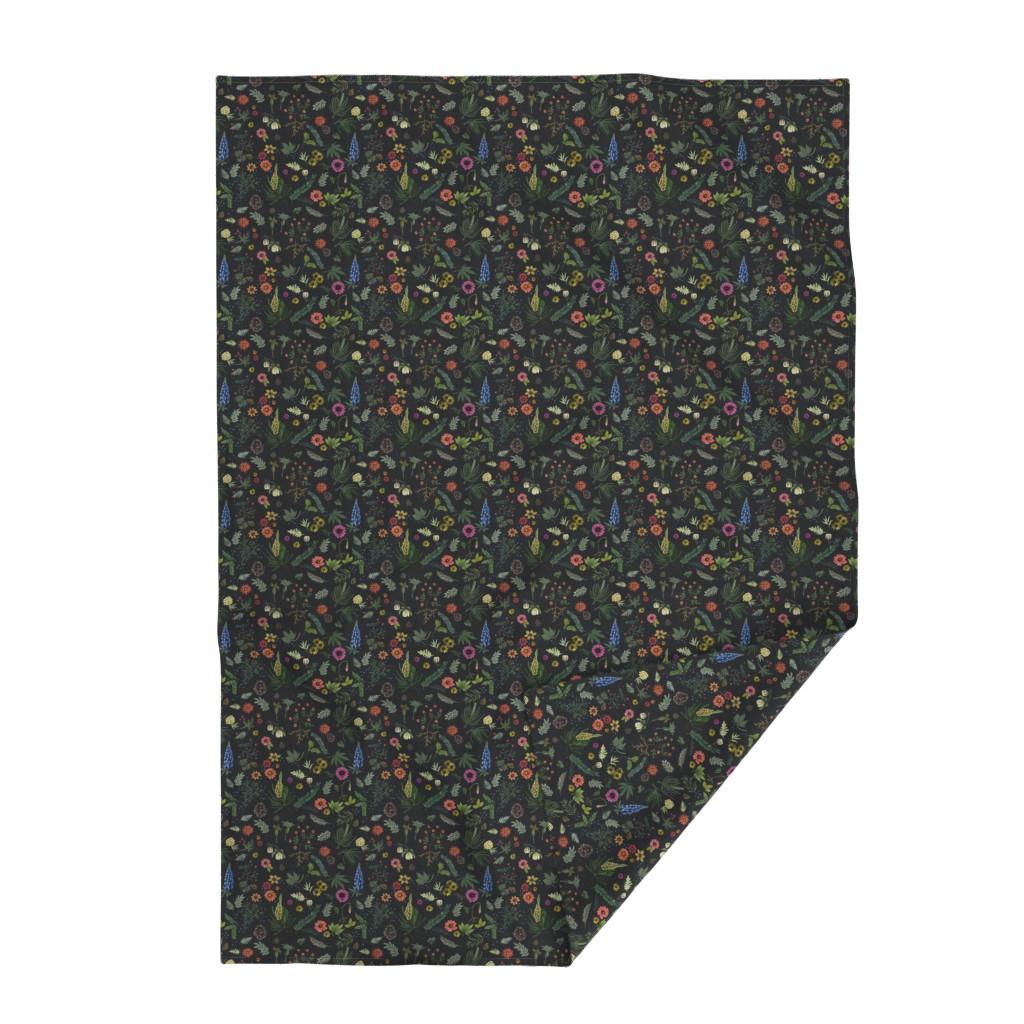 Lakenvelder Throw Blanket featuring boho botanica - black denim - blue lupin by cinneworthington