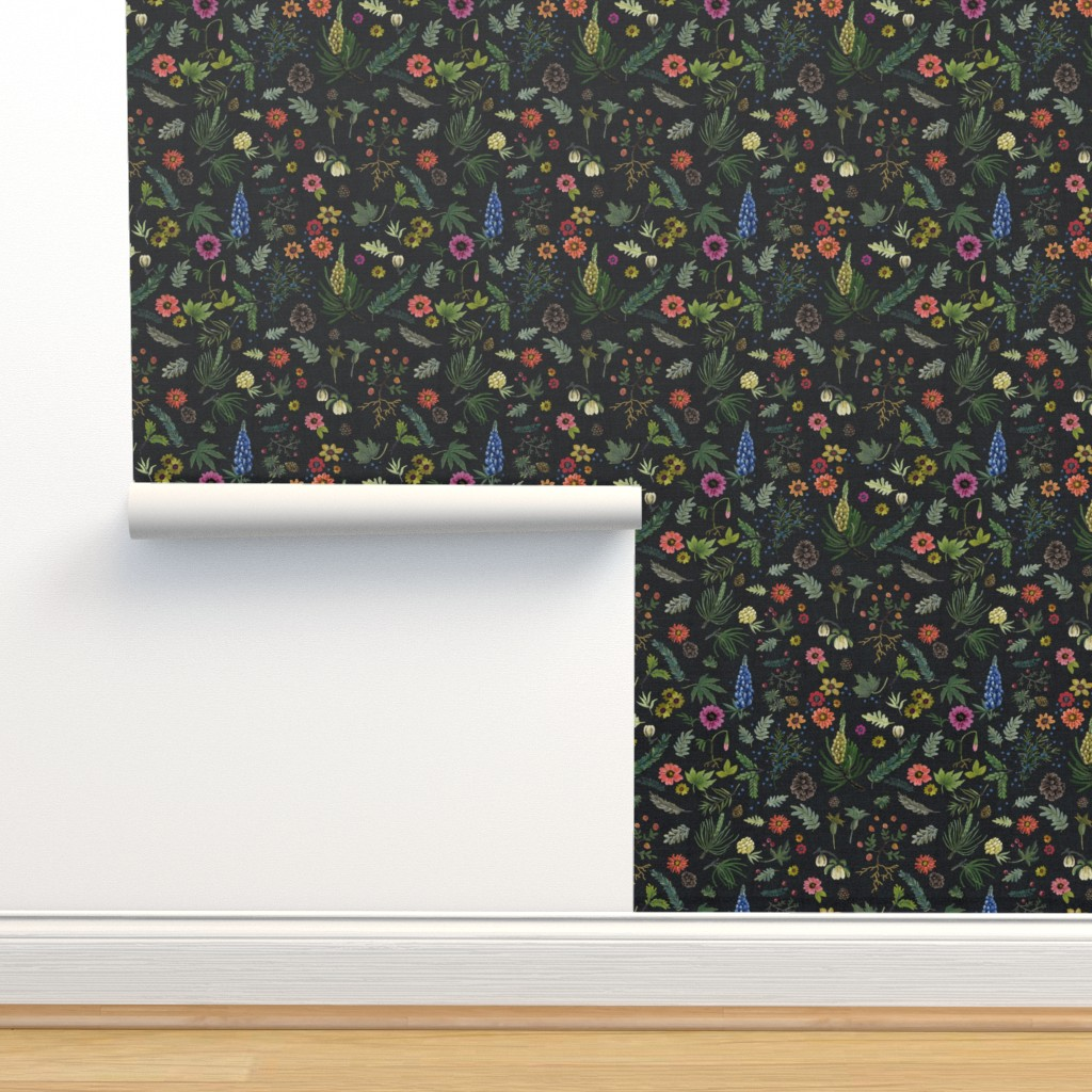 Isobar Durable Wallpaper featuring boho botanica - black denim - blue lupin by cinneworthington