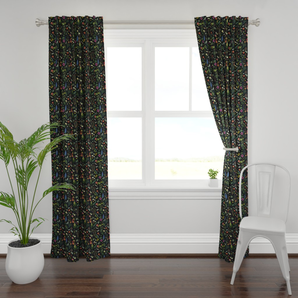 Plymouth Curtain Panel featuring boho botanica - black denim - blue lupin by cinneworthington