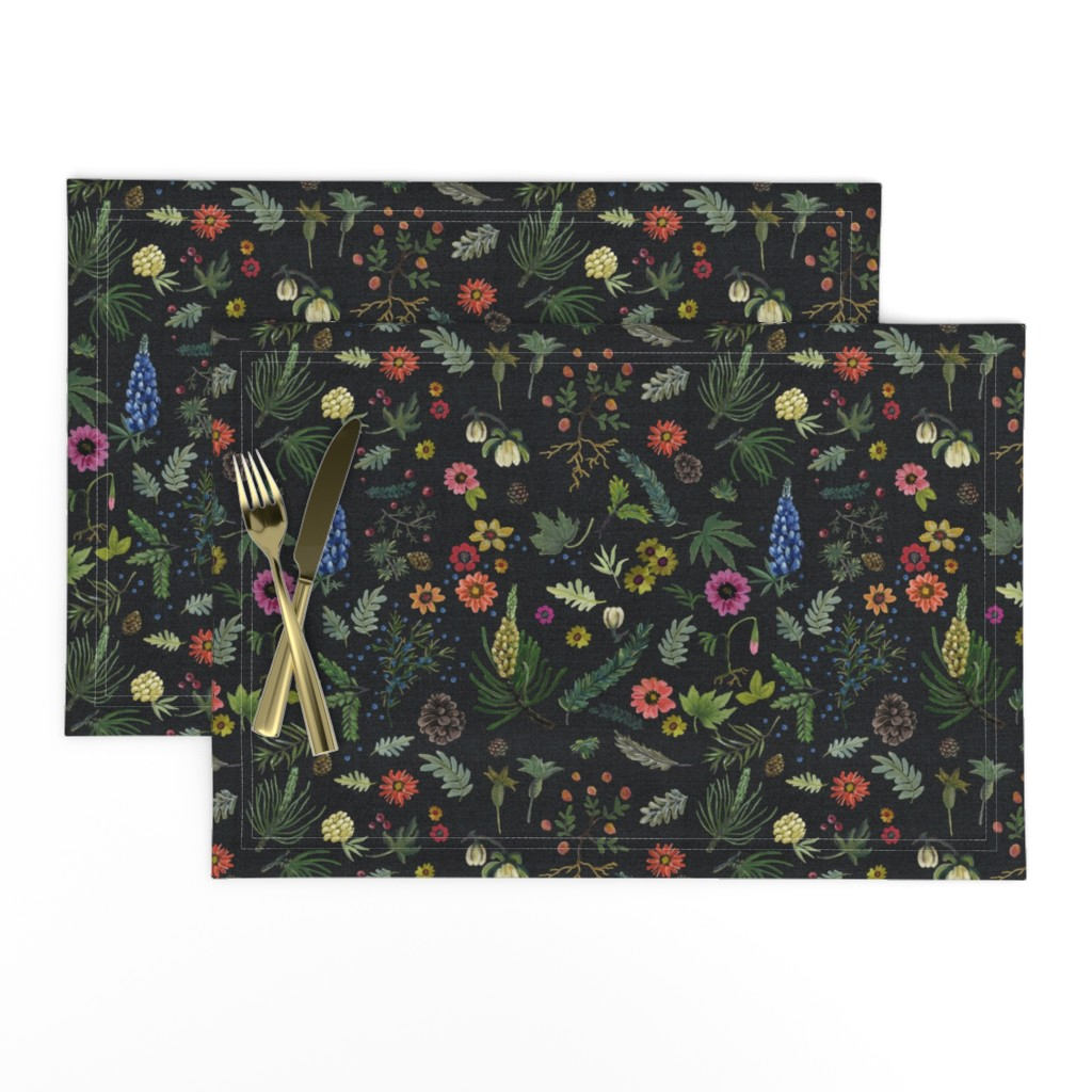 Lamona Cloth Placemats featuring boho botanica - black denim - blue lupin by cinneworthington