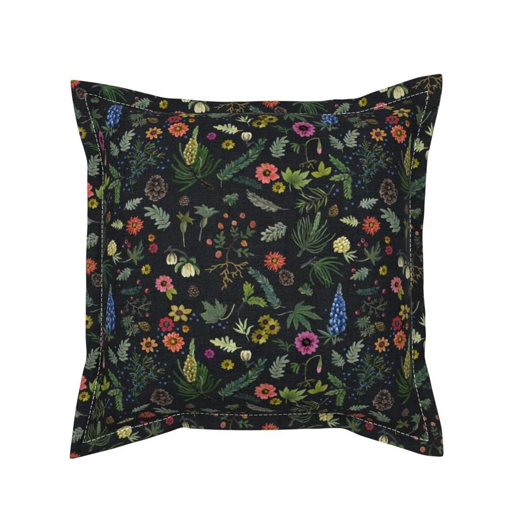 Serama Throw Pillow featuring boho botanica - black denim - blue lupin by cinneworthington