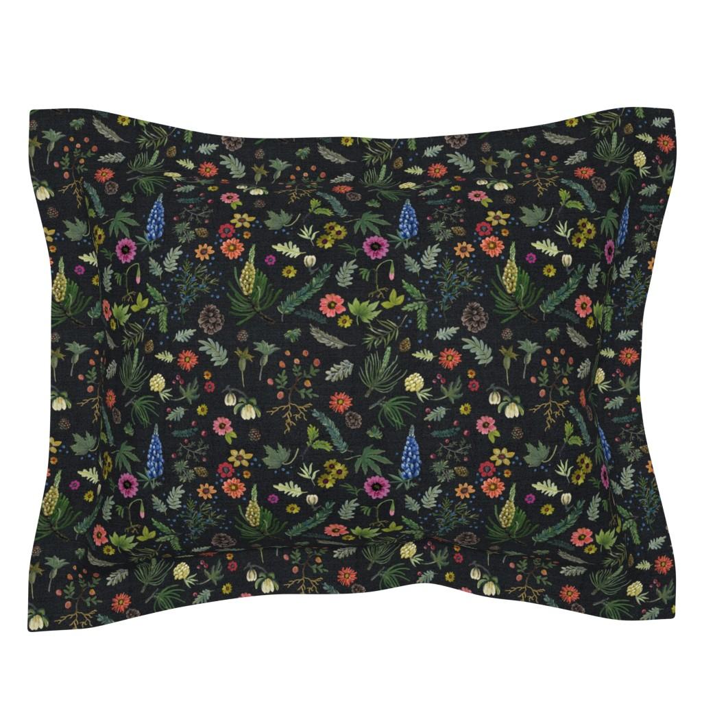 Sebright Pillow Sham featuring boho botanica - black denim - blue lupin by cinneworthington