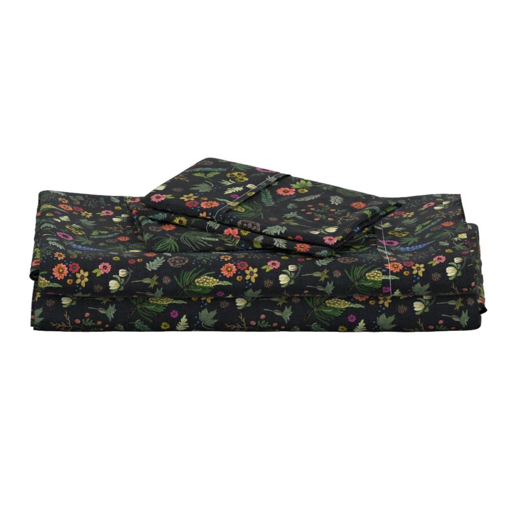 Langshan Full Bed Set featuring boho botanica - black denim - blue lupin by cinneworthington