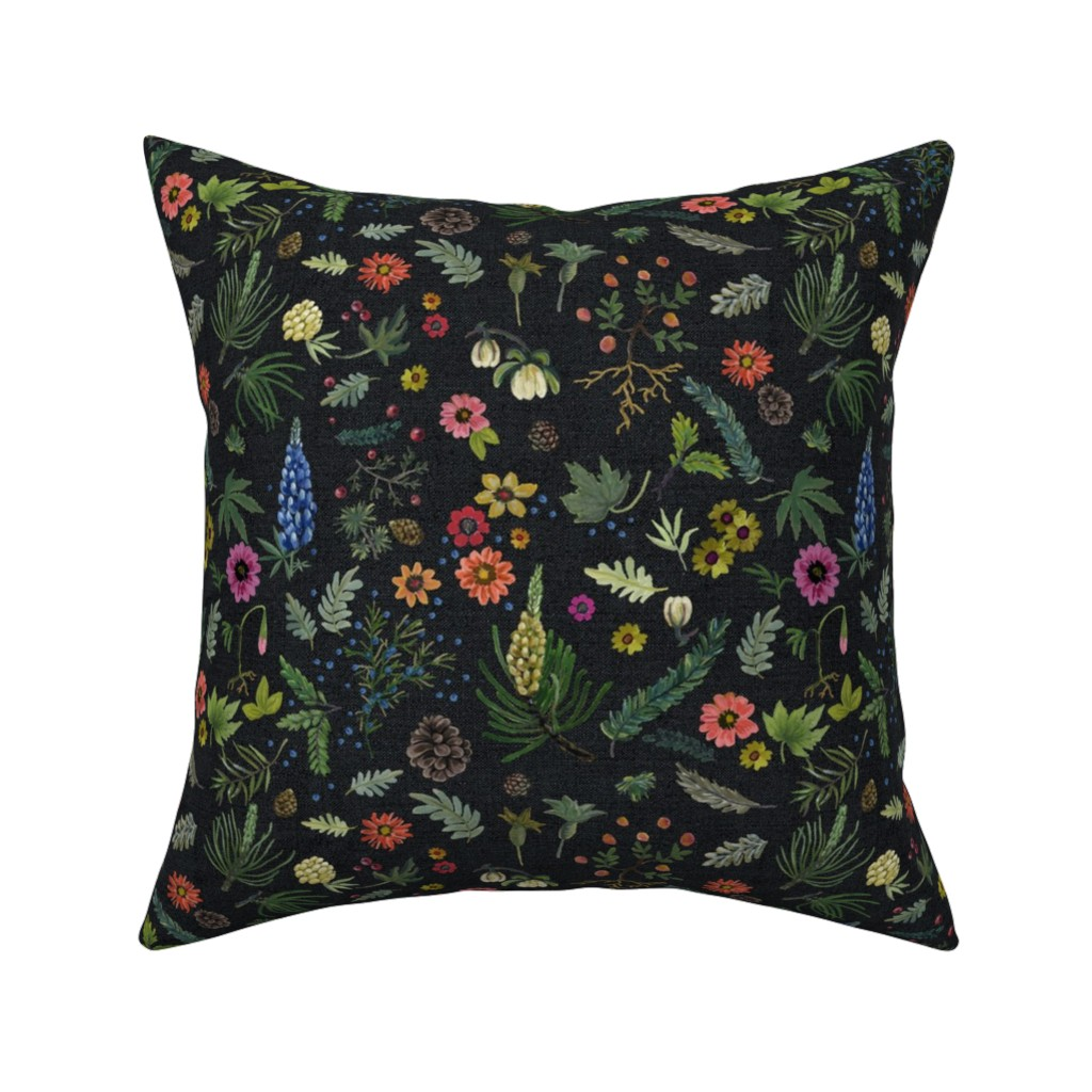 Catalan Throw Pillow featuring boho botanica - black denim - blue lupin by cinneworthington