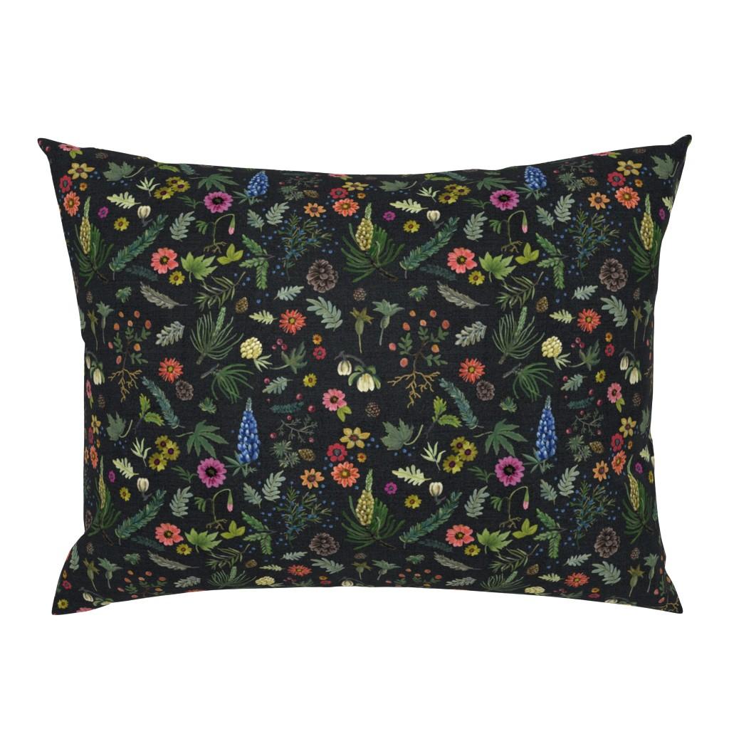Campine Pillow Sham featuring boho botanica - black denim - blue lupin by cinneworthington