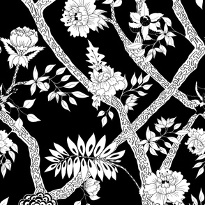 Black and White Peony Branch Mural