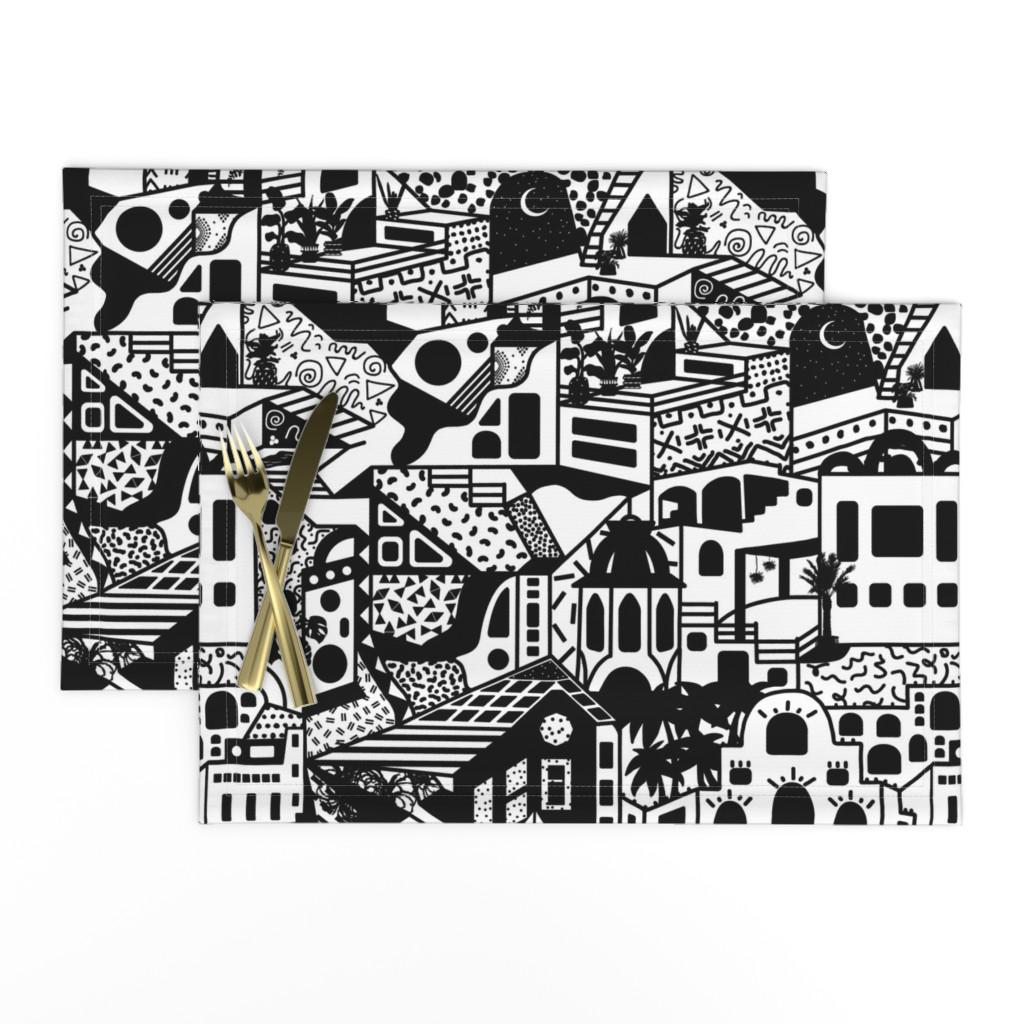Lamona Cloth Placemats featuring Postmodern Desert Dream Village in Black + White by elliottdesignfactory