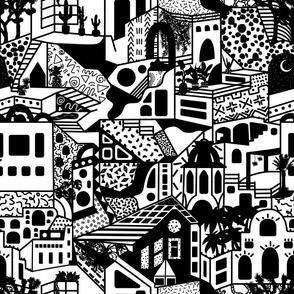 Postmodern Desert Dream Village in Black + White